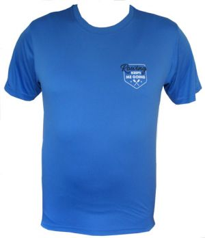 Blauw unisex T-shirt 'Rowing keeps me going'